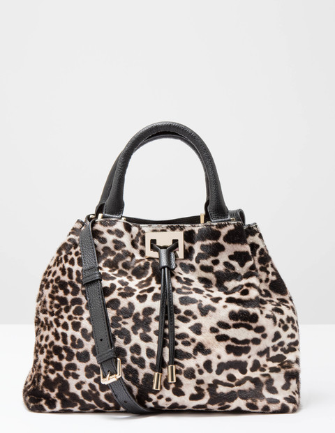 Drawstring Bag Snow Leopard Pony Women Boden, Snow Leopard Pony - predominant colour: ivory/cream; secondary colour: black; occasions: casual, creative work; type of pattern: light; style: shoulder; length: shoulder (tucks under arm); size: standard; material: leather; pattern: animal print; finish: plain; season: s/s 2016; wardrobe: highlight