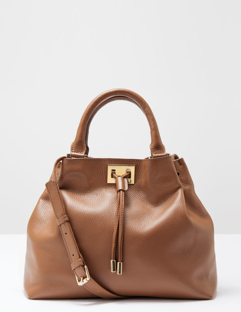 Drawstring Bag Dark Tan Women Boden, Dark Tan - predominant colour: tan; occasions: casual, work, creative work; type of pattern: standard; style: shoulder; length: shoulder (tucks under arm); size: standard; material: leather; pattern: plain; finish: plain; season: s/s 2016; wardrobe: highlight