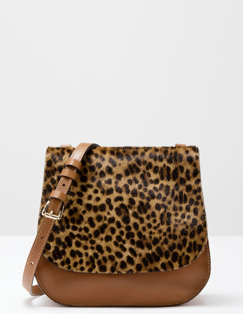 Pony Saddle Bag Tan Leopard Pony/Tan Women Boden, Tan Leopard Pony/Tan - secondary colour: chocolate brown; predominant colour: tan; occasions: casual, creative work; type of pattern: light; style: saddle; length: across body/long; size: standard; material: leather; pattern: animal print; finish: plain; season: s/s 2016; wardrobe: highlight