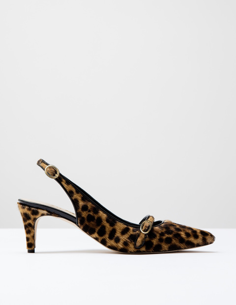 The Slingback Tan Leopard Pony Women, Tan Leopard Pony - predominant colour: camel; secondary colour: black; occasions: evening; material: animal skin; heel height: high; heel: stiletto; toe: pointed toe; style: slingbacks; finish: plain; pattern: animal print; multicoloured: multicoloured; season: s/s 2016; wardrobe: event