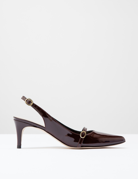 The Slingback Oxblood Patent Women, Oxblood Patent - predominant colour: burgundy; occasions: evening, occasion; material: leather; heel height: mid; heel: stiletto; toe: pointed toe; style: slingbacks; finish: patent; pattern: plain; season: s/s 2016; wardrobe: event