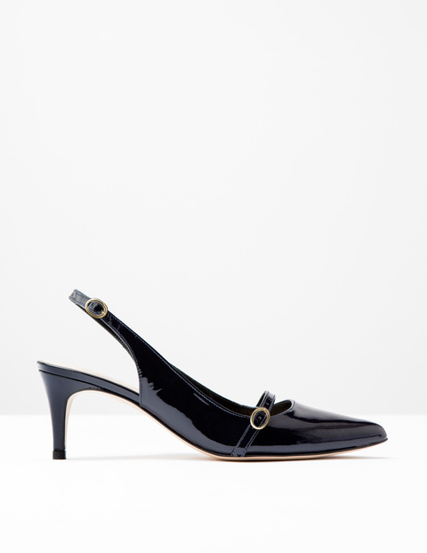 The Slingback Navy Patent Women, Navy Patent - predominant colour: navy; occasions: work, creative work; material: leather; heel height: mid; heel: stiletto; toe: pointed toe; style: slingbacks; finish: patent; pattern: plain; season: s/s 2016; wardrobe: investment