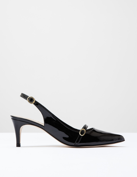 The Slingback Black Patent Women, Black Patent - predominant colour: black; occasions: work, creative work; material: leather; heel height: mid; heel: stiletto; toe: pointed toe; style: slingbacks; finish: patent; pattern: plain; season: s/s 2016; wardrobe: investment