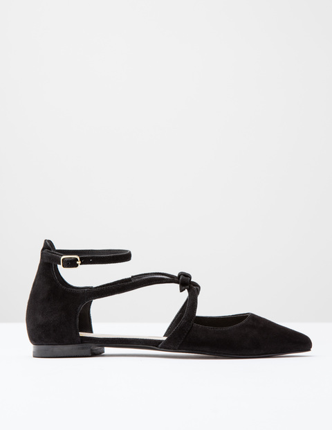 Strappy Bow Point Black Suede Women, Black Suede - predominant colour: black; occasions: casual, creative work; material: suede; heel height: flat; ankle detail: ankle strap; toe: pointed toe; style: ballerinas / pumps; finish: plain; pattern: plain; season: s/s 2016; wardrobe: basic