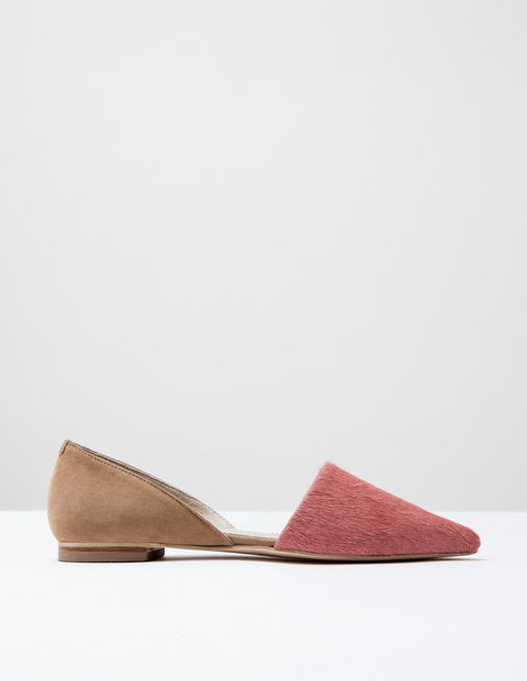 Cleo Flat Point Antique Rose Pony/Camel Suede Women, Antique Rose Pony/Camel Suede - predominant colour: pink; secondary colour: camel; occasions: casual, creative work; material: suede; heel height: flat; toe: pointed toe; style: ballerinas / pumps; finish: plain; pattern: colourblock; season: s/s 2016; wardrobe: highlight