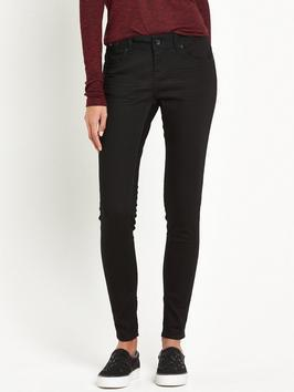 Cassie Skinny Jean Jet Black - style: skinny leg; length: standard; pattern: plain; pocket detail: traditional 5 pocket; waist: mid/regular rise; predominant colour: black; occasions: casual, creative work; fibres: cotton - stretch; texture group: denim; pattern type: fabric; season: s/s 2016; wardrobe: basic