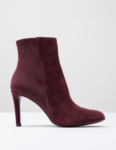 Suede Stretch Ankle Boot Dark Burgundy Suede Women, Dark Burgundy Suede - predominant colour: burgundy; occasions: casual, creative work; material: suede; heel: stiletto; toe: pointed toe; boot length: ankle boot; style: standard; finish: plain; pattern: plain; heel height: very high; season: s/s 2016; wardrobe: highlight