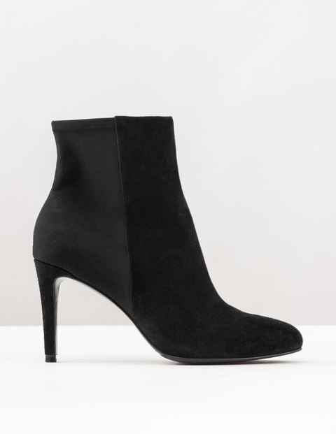 Suede Stretch Ankle Boot Black Suede Women, Black Suede - predominant colour: black; occasions: casual, creative work; material: suede; heel: stiletto; toe: round toe; boot length: ankle boot; style: standard; finish: plain; pattern: plain; heel height: very high; season: s/s 2016