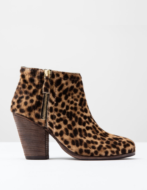 Zip Low Heel Boot Tan Leopard Pony Women, Tan Leopard Pony - secondary colour: chocolate brown; predominant colour: camel; occasions: casual, creative work; material: animal skin; heel height: high; heel: block; toe: round toe; boot length: ankle boot; style: standard; finish: plain; pattern: animal print; season: s/s 2016
