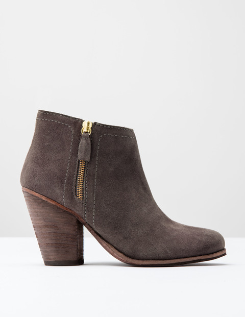 Zip Low Heel Boot Silver Heather Suede Women, Silver Heather Suede - predominant colour: mid grey; occasions: casual, creative work; material: suede; heel height: high; heel: block; toe: round toe; boot length: ankle boot; style: standard; finish: plain; pattern: plain; season: s/s 2016