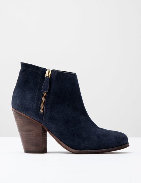 Zip Low Heel Boot Navy Suede Women, Navy Suede - predominant colour: navy; occasions: casual, creative work; material: suede; heel height: high; heel: block; toe: round toe; boot length: ankle boot; style: standard; finish: plain; pattern: plain; season: s/s 2016