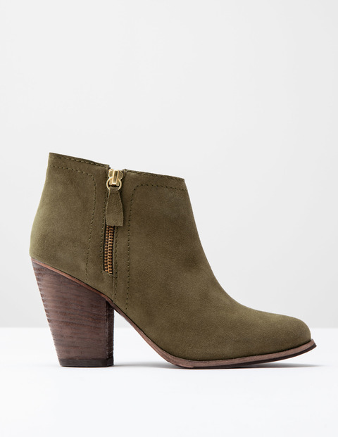 Zip Low Heel Boot Khaki Suede Women, Khaki Suede - predominant colour: khaki; occasions: casual, creative work; material: suede; heel height: high; heel: block; toe: round toe; boot length: ankle boot; style: standard; finish: plain; pattern: plain; season: s/s 2016; wardrobe: highlight