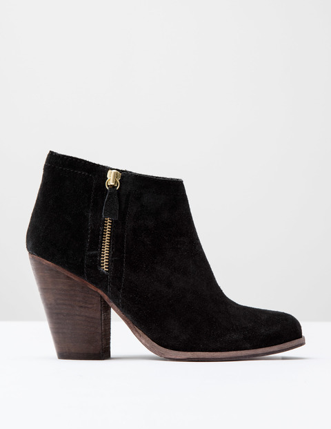 Zip Low Heel Boot Black Suede Women, Black Suede - predominant colour: black; occasions: casual, creative work; material: suede; heel height: high; heel: block; toe: round toe; boot length: ankle boot; style: standard; finish: plain; pattern: plain; season: s/s 2016; wardrobe: highlight