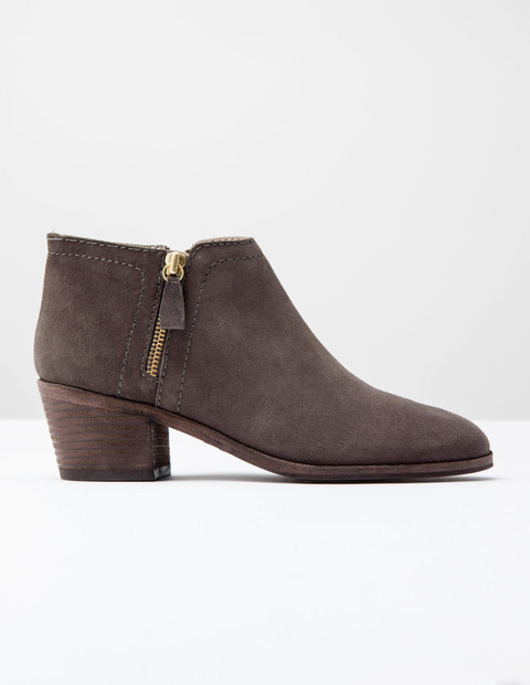 Zip High Heel Boot Silver Heather Suede Women, Silver Heather Suede - predominant colour: chocolate brown; occasions: casual, creative work; material: suede; heel height: mid; heel: block; toe: round toe; boot length: ankle boot; style: standard; finish: plain; pattern: plain; season: s/s 2016; wardrobe: basic