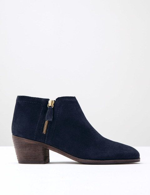 Zip High Heel Boot Navy Suede Women, Navy Suede - predominant colour: navy; occasions: casual, creative work; material: suede; heel height: mid; heel: block; toe: round toe; boot length: ankle boot; style: standard; finish: plain; pattern: plain; season: s/s 2016; wardrobe: basic
