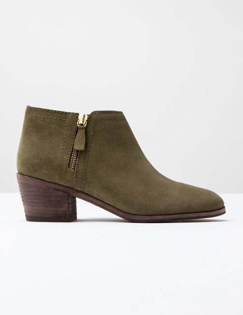 Zip High Heel Boot Khaki Suede Women, Khaki Suede - predominant colour: khaki; occasions: casual, creative work; material: suede; heel height: mid; heel: block; toe: round toe; boot length: ankle boot; style: standard; finish: plain; pattern: plain; season: s/s 2016; wardrobe: basic