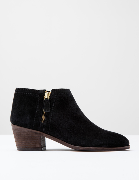 Zip High Heel Boot Black Suede Women, Black Suede - predominant colour: black; occasions: casual, creative work; material: suede; heel height: mid; heel: block; toe: round toe; boot length: ankle boot; style: standard; finish: plain; pattern: plain; season: s/s 2016; wardrobe: basic