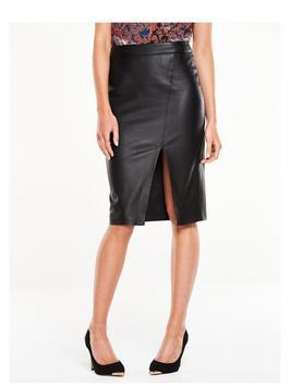 Asymmetric Pu Pencil Skirt - pattern: plain; style: pencil; fit: tailored/fitted; waist: high rise; hip detail: draws attention to hips; predominant colour: black; occasions: evening, creative work; length: on the knee; fibres: polyester/polyamide - 100%; texture group: leather; pattern type: fabric; season: s/s 2016; wardrobe: highlight