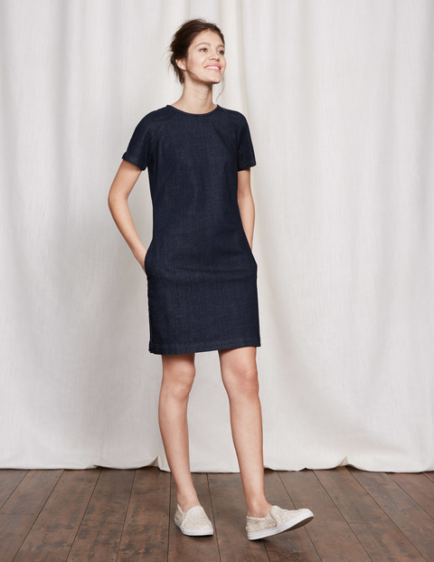 Modern Denim Dress Indigo Denim Women, Indigo Denim - style: shift; pattern: plain; predominant colour: navy; occasions: casual; length: just above the knee; fit: body skimming; fibres: cotton - stretch; neckline: crew; sleeve length: short sleeve; sleeve style: standard; texture group: denim; pattern type: fabric; season: s/s 2016; wardrobe: basic