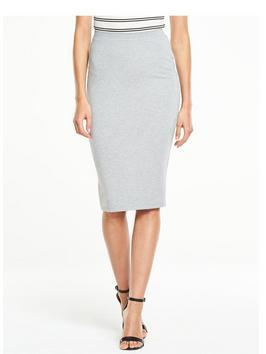 Ponte Pencil Skirt - pattern: plain; style: pencil; fit: tailored/fitted; waist: mid/regular rise; predominant colour: light grey; occasions: work; length: on the knee; fibres: polyester/polyamide - stretch; texture group: jersey - clingy; pattern type: fabric; season: s/s 2016; wardrobe: basic