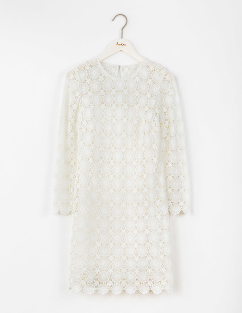 Floral Lace Dress Ivory Women, Ivory - style: shift; predominant colour: white; occasions: evening; length: just above the knee; fit: straight cut; fibres: cotton - 100%; neckline: crew; sleeve length: long sleeve; sleeve style: standard; texture group: lace; pattern type: fabric; pattern size: standard; pattern: patterned/print; season: s/s 2016; wardrobe: event