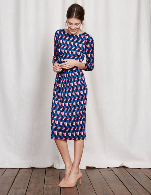 Ruched Waist Dress Solstice Blue Soft Geo Women, Solstice Blue Soft Geo - style: shift; neckline: slash/boat neckline; secondary colour: pink; predominant colour: navy; occasions: evening, work, creative work; length: on the knee; fit: body skimming; fibres: viscose/rayon - 100%; sleeve length: 3/4 length; sleeve style: standard; pattern type: fabric; pattern: patterned/print; texture group: jersey - stretchy/drapey; multicoloured: multicoloured; season: s/s 2016; wardrobe: highlight