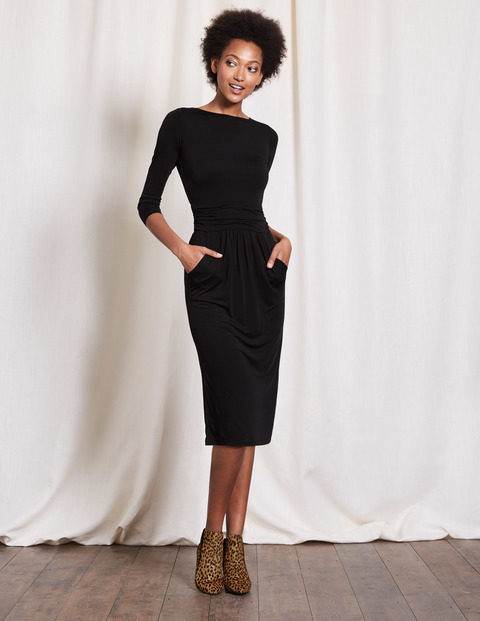 Ruched Waist Dress Black Women, Black - length: below the knee; neckline: slash/boat neckline; fit: tight; pattern: plain; style: bodycon; predominant colour: black; occasions: evening; fibres: viscose/rayon - 100%; sleeve length: 3/4 length; sleeve style: standard; texture group: jersey - clingy; pattern type: fabric; season: s/s 2016; wardrobe: event