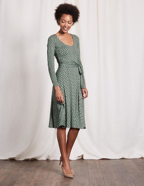 Silvia Dress Csarite Squiggle Geo Women, Csarite Squiggle Geo - neckline: round neck; pattern: plain; predominant colour: pistachio; secondary colour: black; occasions: evening; length: on the knee; fit: fitted at waist & bust; style: fit & flare; fibres: viscose/rayon - stretch; sleeve length: long sleeve; sleeve style: standard; pattern type: fabric; texture group: jersey - stretchy/drapey; season: s/s 2016; wardrobe: event