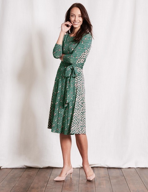 Anna Dress Emerald Night Hotchpotch Women, Emerald Night Hotchpotch - length: below the knee; waist detail: belted waist/tie at waist/drawstring; predominant colour: dark green; secondary colour: light grey; occasions: casual; fit: fitted at waist & bust; style: fit & flare; fibres: viscose/rayon - stretch; neckline: crew; sleeve length: 3/4 length; sleeve style: standard; pattern type: fabric; pattern: patterned/print; texture group: jersey - stretchy/drapey; multicoloured: multicoloured; season: s/s 2016; wardrobe: highlight