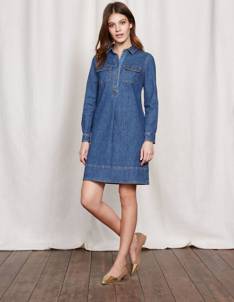 Lola Dress Vintage Denim Women, Vintage Denim - style: shirt; neckline: shirt collar/peter pan/zip with opening; pattern: plain; predominant colour: denim; occasions: casual; length: just above the knee; fit: body skimming; fibres: cotton - stretch; sleeve length: long sleeve; sleeve style: standard; texture group: denim; pattern type: fabric; season: s/s 2016; wardrobe: basic