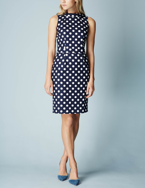 Martha Dress Navy Spot Women, Navy Spot - style: shift; fit: tailored/fitted; sleeve style: sleeveless; neckline: high neck; pattern: polka dot; secondary colour: white; predominant colour: navy; occasions: evening; length: just above the knee; fibres: cotton - stretch; sleeve length: sleeveless; pattern type: fabric; texture group: woven light midweight; multicoloured: multicoloured; season: s/s 2016