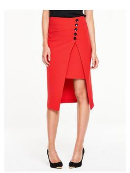 Side Button Asymmetric Skirt - length: below the knee; pattern: plain; style: pencil; fit: tailored/fitted; waist: high rise; hip detail: draws attention to hips; predominant colour: true red; occasions: evening, creative work; fibres: polyester/polyamide - 100%; waist detail: feature waist detail; texture group: crepes; pattern type: fabric; season: s/s 2016; wardrobe: highlight