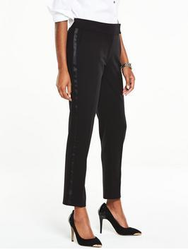 Petite Mix &Amp; Match Slim Leg Trouser - pattern: vertical stripes; waist: mid/regular rise; predominant colour: black; occasions: evening; length: ankle length; fibres: polyester/polyamide - 100%; fit: slim leg; pattern type: fabric; texture group: woven light midweight; style: standard; pattern size: light/subtle (bottom); season: s/s 2016; wardrobe: event
