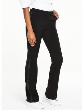 Petite Mix &Amp; Match Bootcut Trouser - length: standard; pattern: plain; waist: mid/regular rise; predominant colour: black; occasions: casual; fibres: polyester/polyamide - 100%; fit: bootcut; pattern type: fabric; texture group: jersey - stretchy/drapey; style: standard; season: s/s 2016; wardrobe: basic