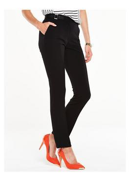 Pu Side Trim Trouser - length: standard; pattern: plain; pocket detail: pockets at the sides; waist: mid/regular rise; predominant colour: black; occasions: evening, creative work; fibres: polyester/polyamide - 100%; fit: slim leg; pattern type: fabric; texture group: woven light midweight; style: standard; season: s/s 2016; wardrobe: basic