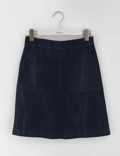 Annabel Skirt Indigo Denim Women, Indigo Denim - length: mid thigh; pattern: plain; fit: loose/voluminous; waist: mid/regular rise; predominant colour: navy; occasions: casual, work, creative work; style: a-line; fibres: cotton - 100%; texture group: denim; pattern type: fabric; season: s/s 2016; wardrobe: basic