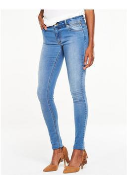 Zipped Pocket Skinny Jean - style: skinny leg; length: standard; pattern: plain; pocket detail: traditional 5 pocket; waist: mid/regular rise; predominant colour: denim; occasions: casual; fibres: cotton - stretch; jeans detail: whiskering, shading down centre of thigh; texture group: denim; pattern type: fabric; season: s/s 2016; wardrobe: basic