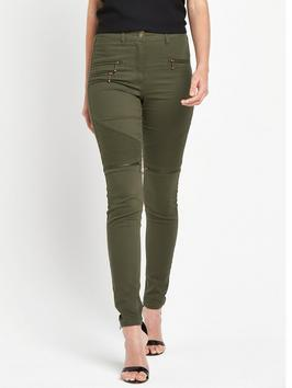 High Waisted Biker Jean - style: skinny leg; length: standard; pattern: plain; waist: mid/regular rise; predominant colour: khaki; occasions: casual; fibres: cotton - 100%; texture group: denim; pattern type: fabric; season: s/s 2016