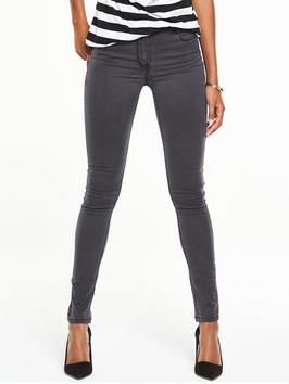 Petite High Rise Ella Supersoft Skinny Jeans - style: skinny leg; length: standard; pattern: plain; pocket detail: traditional 5 pocket; waist: mid/regular rise; predominant colour: charcoal; occasions: casual; fibres: cotton - stretch; texture group: denim; pattern type: fabric; season: s/s 2016; wardrobe: highlight