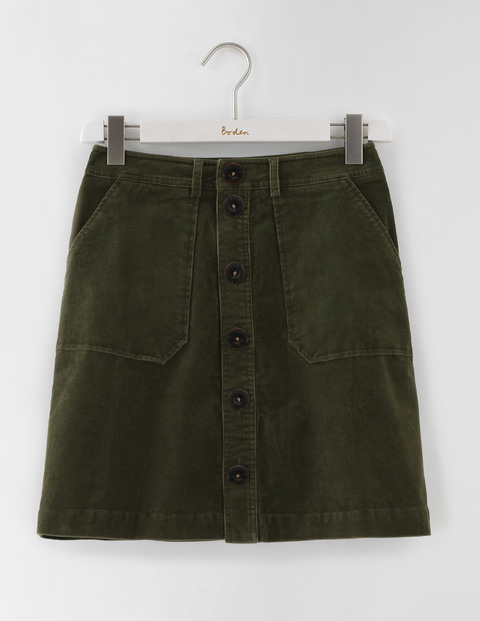 Button Through Mini Skirt Marsh Cord Women, Marsh Cord - length: mini; pattern: plain; waist: mid/regular rise; predominant colour: dark green; occasions: casual, creative work; style: mini skirt; fibres: cotton - mix; texture group: corduroy; fit: straight cut; pattern type: fabric; season: s/s 2016