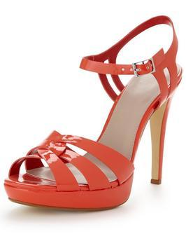 Hamilton Patent Platform Ankle Strap Sandals - predominant colour: coral; occasions: evening, occasion; material: faux leather; ankle detail: ankle strap; heel: stiletto; toe: open toe/peeptoe; style: strappy; finish: patent; pattern: plain; heel height: very high; shoe detail: platform; season: s/s 2016; wardrobe: event