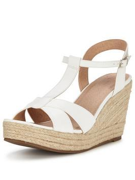 Miles Espadrille Platform Wedge - predominant colour: white; occasions: casual, holiday; material: faux leather; heel height: high; ankle detail: ankle strap; heel: wedge; toe: open toe/peeptoe; style: strappy; finish: plain; pattern: plain; shoe detail: platform; season: s/s 2016