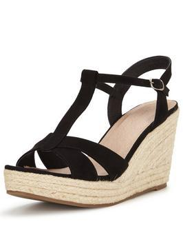 Miles Espadrille Fashion Platform Wedges - predominant colour: black; occasions: casual, holiday; material: suede; heel height: high; ankle detail: ankle strap; heel: wedge; toe: open toe/peeptoe; finish: plain; pattern: plain; shoe detail: platform; style: espadrilles; season: s/s 2016