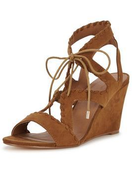 Garden Whipstitch Ghillie Tie Wedge Sandal - predominant colour: tan; occasions: casual, holiday, creative work; heel height: high; ankle detail: ankle tie; heel: wedge; toe: open toe/peeptoe; style: strappy; finish: plain; pattern: plain; material: faux suede; season: s/s 2016; wardrobe: highlight
