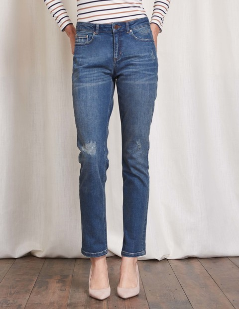Cavendish Girlfriend Jean Distressed Women, Distressed - style: straight leg; length: standard; pattern: plain; pocket detail: traditional 5 pocket; waist: mid/regular rise; predominant colour: denim; occasions: casual; fibres: cotton - stretch; texture group: denim; pattern type: fabric; season: s/s 2016