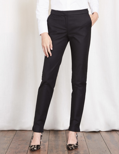 Richmond Trousers Black Women, Black - pattern: plain; waist: mid/regular rise; predominant colour: black; occasions: work; length: ankle length; fibres: cotton - mix; waist detail: feature waist detail; texture group: cotton feel fabrics; fit: slim leg; pattern type: fabric; style: standard; season: s/s 2016; wardrobe: basic