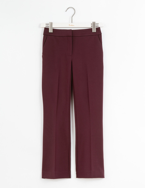 Hampshire Crop Flare Trousers Dark Burgundy Women, Dark Burgundy - length: standard; pattern: plain; waist: mid/regular rise; predominant colour: burgundy; fibres: polyester/polyamide - 100%; waist detail: feature waist detail; texture group: crepes; fit: straight leg; pattern type: fabric; style: standard; occasions: creative work; season: s/s 2016; wardrobe: highlight