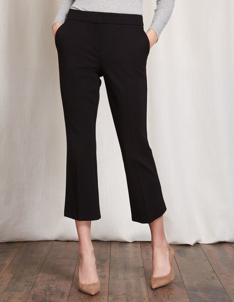 Hampshire Crop Flare Trousers Black Women, Black - pattern: plain; waist: mid/regular rise; predominant colour: black; occasions: work, creative work; length: calf length; fibres: polyester/polyamide - 100%; waist detail: narrow waistband; texture group: crepes; fit: slim leg; pattern type: fabric; style: standard; season: s/s 2016
