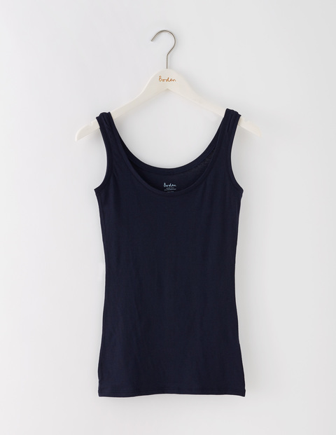 Featherweight Vest Navy Women, Navy - neckline: round neck; pattern: plain; sleeve style: sleeveless; style: vest top; predominant colour: navy; occasions: casual; length: standard; fibres: cotton - mix; fit: body skimming; sleeve length: sleeveless; pattern type: fabric; texture group: jersey - stretchy/drapey; season: s/s 2016; wardrobe: basic