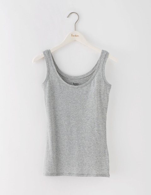 Featherweight Vest Grey Marl Women, Grey Marl - pattern: plain; sleeve style: sleeveless; style: vest top; predominant colour: mid grey; occasions: casual; length: standard; neckline: scoop; fibres: cotton - mix; fit: body skimming; sleeve length: sleeveless; pattern type: fabric; texture group: jersey - stretchy/drapey; season: s/s 2016; wardrobe: basic